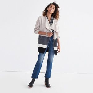 Madewell Meridian Sweater Coat Colorblock Wool